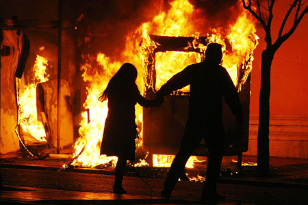 Romantic walk through the Greek riots