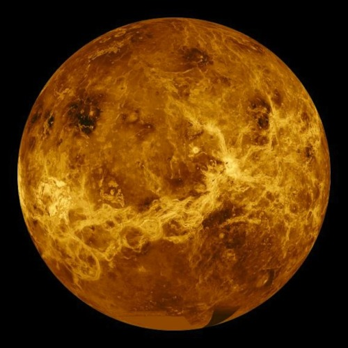 Venus revealed This image was made from radar data taken in 1991 by the Magellan spacecraft, which eventually mapped 98 percent of the planet's surface. The bright region at the center of the image is a rugged highland area known as Aphrodite Terra.  Venus has evidence of a long history of volcanic activity and has shield and composite volcanoes similar to ones found on Earth. The planet has fewer impact craters than the moon or Mercury, probably because the dense atmosphere burns up smaller asteroids before they reach the surface. Venus also has some strange circular and oval features known as coronae, which are thought to be formed by hot, molten material upwelling from below, similar to hotspots on Earth that form volcanic islands in the ocean crust. On Venus, the rising, molten plumes push the crust up into a dome and then cool off causing the domes to collapse into depressions.  Image: NASA/JPL