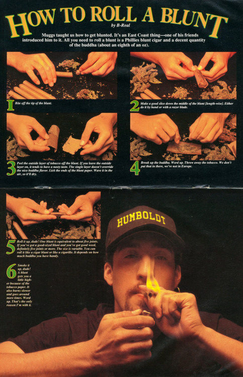 "babylonfalling:  ""How to Roll a Blunt"" by B-Real for High Times (1992) Larger"