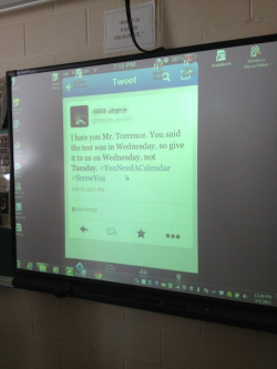 A student tweeted about a test, and the next day it was the teacher's desktop background.