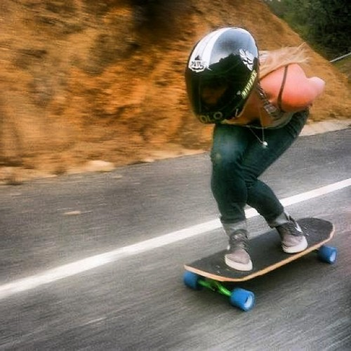 Amanda Powell (@amandapowellskate) mobbing down Malibu's fastest. Point & shoot, Matthew Kienzle (Posted by Paris Trucks Co)