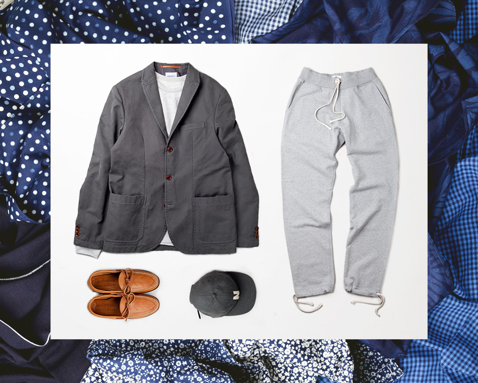 Cozy Day: Accessories by The HIll-side, Blazer and Cap by Norse Projects, Sweatpants and Sweatshirt by Reigning Champ and Footwear by Yuketen