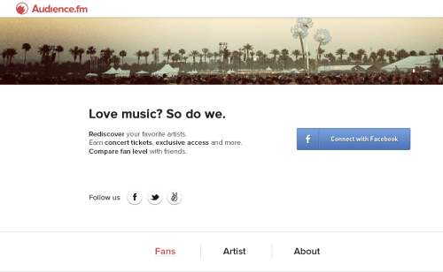 Audience.fm collects passive data streams to identify users' musical preferences and match marketers with the right fans. Sign up here