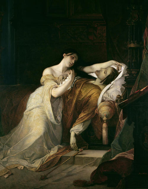 colourthysoul:  Louis Gallait - Joanna the Mad with Philip I the Handsome  Joanna (6 November 1479 – 12 April 1555), known as Joanna the Mad (Spanish: Juana la Loca), was heiress of the Kingdoms of Castile and Aragon, a union which evolved into modern Spain. She married Philip the Handsome, initiating the rule of the Habsburgs in Spain. After her mother's death, the couple briefly ruled Castille (1504-1506). After Philipp's death in 1506, Joanna became mentally ill and was was confined to a nunnery, while her father Ferdinand and later her son Charles ruled Spain in her place. Philip I (22 July 1478 – 25 September 1506), known as Philip the Handsome or the Fair, was the first member of the house of Habsburg to be King of Castile. The son of Maximilian I, Holy Roman Emperor, Philip inherited the greater part of the Duchy of Burgundy and the Burgundian Netherlands (as Philip IV) from his mother, Mary of Burgundy, and briefly succeeded to the Crown of Castile as the husband of Queen Joanna of Castile, who was also heiress-presumptive to the Crown of Aragon. He was the first Habsburg monarch in Spain. He never inherited his father's territories, nor became Holy Roman Emperor, because he predeceased his father, but his son Emperor Charles V eventually united the Habsburg, Burgundian, Castilian, and Aragonese inheritances. The future King Henry VIII of England met Philip the Handsome on a visit Philip made to Henry's father's court in London, and regarded him as providing a model of leadership towards which he aspired.