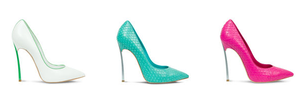 "Wish List Wednesday: Casadei Iconic Blade Pumps Ok, take a moment, and revel in this super sexy, super sharp, super chic collection of footwear.  Worn by the likes of Zoe Saldana and obsessed over by Oscar Award winning actress Jennifer Lawrence, Casadei has maintained the chicness for which they're known and definitely taking it up a notch by replacing the heel with a blade-like stem. Get this: the ""blade"" is made of real steel! Embracing the colors of Spring and embodying an edginess we can't get enough of, these pumps start at about $790 and go to about $950.  They come in more colors than those shown, including nude with an orange lacquer blade and vibrant animal prints with Swarovski crystals and a black lacquered blade. Add these to your wish list immediately!"