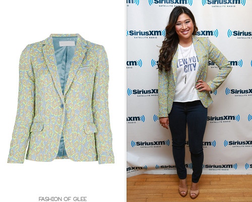 Jenna Ushkowitz visits the SiriusXM studios, New York City, May 14, 2013 Zadig & Voltaire 'Velda' Animal Print Blazer - $825.00 Worn with: Stella + Dot necklace, Falling Whistles necklace, Chaser LA tee, Misa Jewelry ring, Jerome Rousseau pumps
