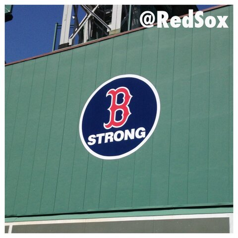 The Red Sox have added the Boston Strong logo to the Green Monster.
