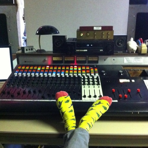 Mixing with yellow and pink dinosaur socks on. Now that's punk.
