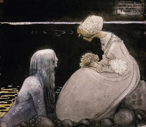 vvf:  pas-de-chat:  mercy-misrule:   John Bauer, Agneta and The Sea King, Swedish Folktales.  This has a beautiful story that goes with it, with the sea king trying to convince her to just take his hand and she'll become the water queen and have mermaids in waiting and pearls in her hair and she does not reach out because she knows that he is the king of an underworld and he'll take her down into the cold dark depths and she won't return  He has washed up from the water — all his nakedness like heaven With his hair so lank and heavy, green and black as Sodden seaweed, with his harp of kelp and pearl  Scandinavian countries have a lot of sexy male water nymphs in their legends, and for this, I am thankful.  Mmmm nymph