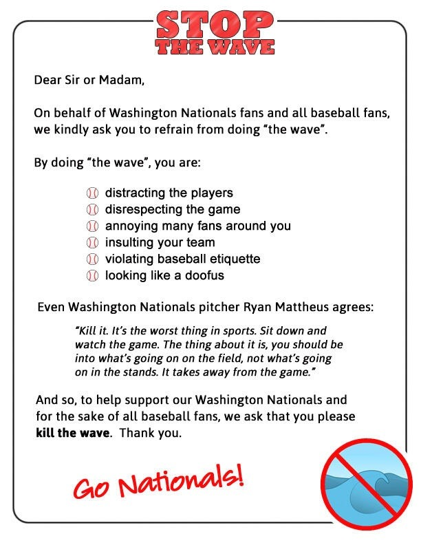 The Internet: Teaching you to not be obnoxious at Nats games since whenever you started caring about the Nats.