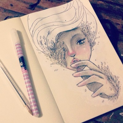 "mixho:  ""Hide"" #hair #girl #love #paint #acrilic #pen #gel #white #black #leaves #feathers #draw #sketch #doodle #sketchbook #moleskine #cute #lovely #gray #lips #hand #instagood #art #hipstagood #hipster #illustration #nice"