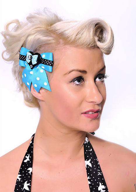 Bettie Dot Ribbon and Sweetie Skull Heart Hair Bow - Turquoise http://punkupbettie.bigcartel.com/ https://www.etsy.com/shop/PunkUpBettie  Rockin' it by Elle J Divine Photography by William Brown