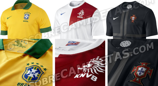 New Brazil home kit and Netherlands and Portugal away kits. I'm not normally a fan of BFBS, but Portugal doesn't look too bad. Netherlands' is quite nice.