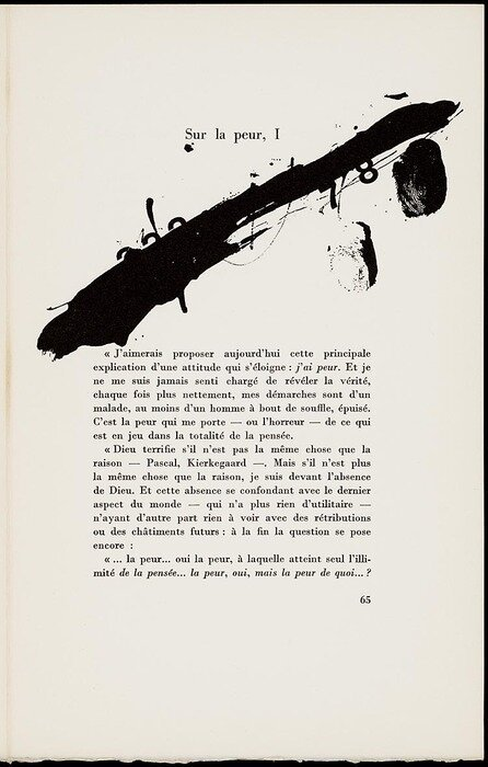 justanothermasterpiece:  Text by Edmond Jabès. Ilustration by Antoni Tàpies.