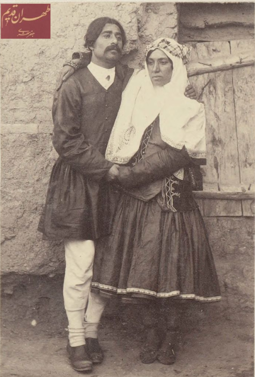 farsizaban:  Mirza Ebrahim Agha and his wife (Tehran, c.1911)