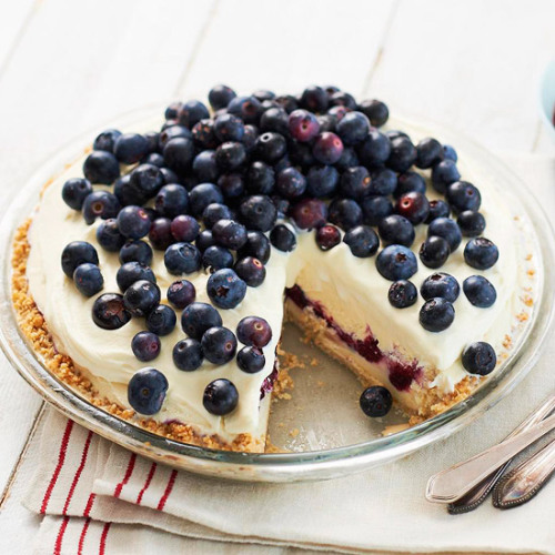 bhgfood:  Blueberry Ice Cream Pie: This crowd-please recipe features vanilla ice cream and a brown sugar-almond crust.