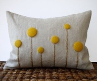 Yellow Billy Ball Flower Pillow in Natural by JillianReneDecor via [Enzie Shahmiri Designs]