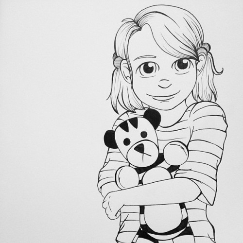 Because Em made me think of a girl version of Calvin and Hobbes… #drawing #art #doodle #sketch #sketchbook #lineart #ink #copic #illustration #calvinandhobbes #comic #billwatterson