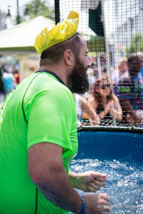 I jumped in the dunk tank at pride &#8230. yes I was wearing a rubber ducky shower cap.apparently I had a rather large splash-zonethanks to Zechariah for the photos