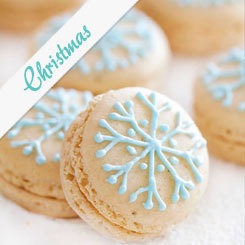 Snowflake Macarons filled with Vanilla White Chocolate Ganache