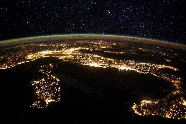 thescienceofreality:  Europe at Night. This nighttime panorama of much of Europe was photographed by one of the Expedition 30 crew members aboard the International Space Station flying approximately 240 miles above the Tyrrhenian Sea on Jan. 25, 2012. Most of the country of Italy is visible running horizontally across the center of the frame, with the night lights of Rome and Naples being visible to the center and right center, respectively. Sardinia, and Corsica are in the lower left quadrant of the photo, and Sicily is at lower right corner. The Adriatic Sea is on the other side of Italy, and beyond it to the east and north can be seen parts of several other European nations. View full high res. version here.
