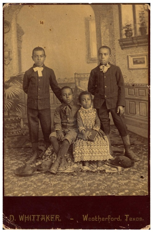 Brothers & Sisters | 1880 Jeff, George, Oliver, and Lillie Wayes, ca. 1880s. Daniel Whittaker, Weatherford, Texas. Daniel Cowin Collection I International Center of  of Photography Black History Album, The Way We WereFollow us on TUMBLR  PINTEREST  FACEBOOK  TWITTER