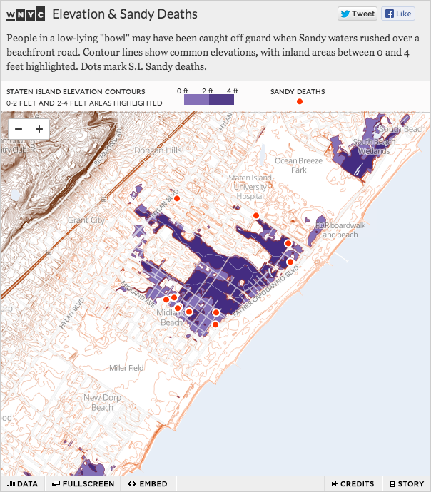 "The deadliest neighborhood the night Sandy hit is in a topographical ""bowl"" where the elevation is less than 4 feet. Click through for WNYC's interactive map and the full story."