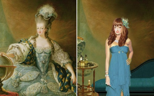 How historical figures would have looked today: (ABOVE) MARIE ANTOINETTE Her three-foot tall hair has been let down and her unusually high forehead concealed with a trendy fringe. From: The Telegraph Known for her crooked teeth in her youth she has been given a full modern-day orthodontic treatment. Teased for her small breasts as a teenager, she has been given breast implants. Known for being fashionable and changing clothes three times a day, Marie Antoinette is dressed in a modern designer dress. Reported to express how she was feeling through the accessories in her wig, she is wearing a flirty Philip Treacey style hat. Her modern day portrait also shows the her fully-made up in colourful make-up.