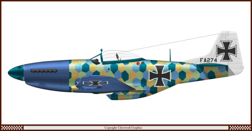 Very cool mashup of historic planes with mixed up paint schemes from different air forces around the world and in different eras. For example, here's a P-51D with German WWI markings! (via Clave's Profiles)