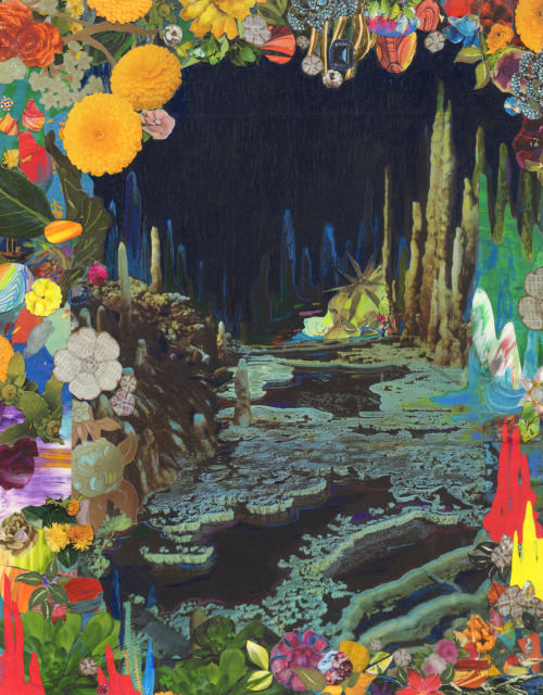 "brandistrickland:  Brandi StricklandCave Garden IICollage, gouache, acrylic, and colored pencil on board, 2013, 14"" x 11""print"