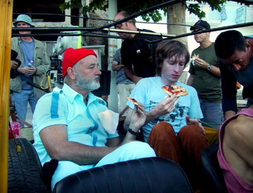behindtheillusions:  Bill Murray and director Wes Anderson on the set of The Life Aquatic with Steve Zissou (2004).