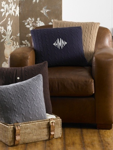 Monogrammed Cable Cashmere Throw Pillow