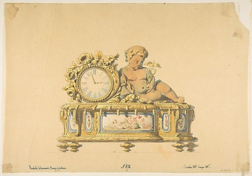 lesrosiers:  Design for a Clock: Commerce French, 19th century