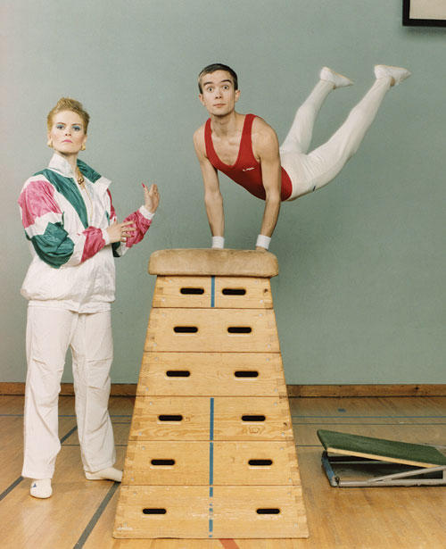 Gymnastics-themed promo photograph of the Knife