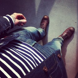 Sun at work. #rrl #denim #redwing #boots #menswear #mensstyle #mensfashion #tattoos #sailor