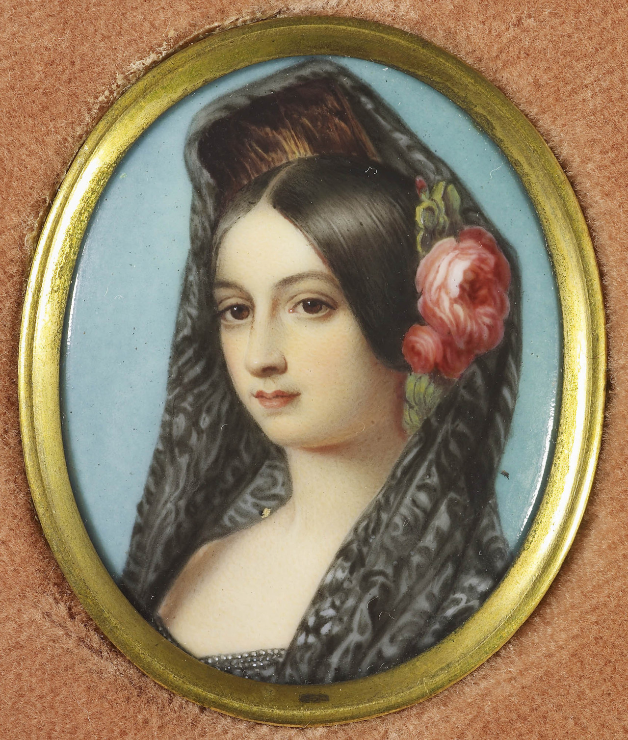 Miniature of the Infanta Luisa Fernanda (1832-1897), Duchess of Montpensier in the British Royal Collection. Leopold I, King of the Belgians, reported to Queen Victoria in 1846 that: 'The Infanta is evidently good looking … Her eyes seem … very lovely and she has fine teeth and hair. She is also very graceful … rather tall already and likely still to grow' (RA VIC/Y 73/14). She had matured by the time Queen Victoria saw her during her visit to England from 14 June to 2 July 1852: 'She is very Spanish looking, and there is much charm & beauty about her face, & manner – tho' she is a good deal altered & looks older than she is. She is very amiable & gentle & ready to do anything & pleased with everything' (RA VIC/Y 97/20). The Queen was delighted when she wore a mantilla, as in the present enamel: 'The Montpensiers came to see us … Fernanda looked very handsome in a Spanish Mantilla w h. she put on on purpose for me' (RA VIC/Y 97/21). Luisa Fernanda, daughter of Fernando VII of Spain, and of Maria Cristina of the Two-Sicilies, daughter of King Francis I of the Two Sicilies, married in 1846 Antoine, duc de Montpensier, fifth son of Louis-Philippe, King of the French. They had four sons and five daughters. Signed, dated and inscribed on the counter-enamel in black paint: Infanta Louisa Ferdinanda / Duchess of Montpensier / Simpson after F. Winterhalter / 1849