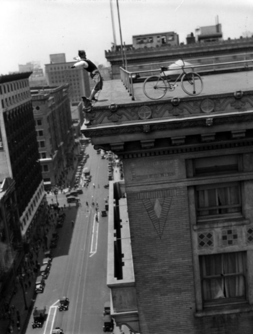 Balancing on the roof of the LA Chamber of Commerce, 1919.