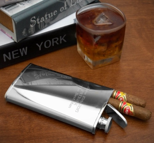 grapesandleaves:  2-in-1 Cigar Holder and Flask ($30)  Nothing is better than the bite of a fine whiskey, vodka, or gin in between puffs of a great…  View Post