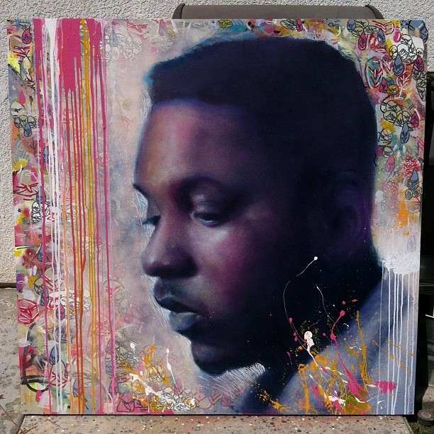 Painting of Kendrick Lamar by myself and @youmaywant . Acrylic and spraypaint on wood, 4ft x 4ft #art #arting #artwork #paint #painting #portrait #kendricklamar #compton #la #losangeles #cali #westcoast #rap #hiphop #spraypaint #acrylic #abstract #fineart #contemporary #colors #wood #panel #awonderfulmistake
