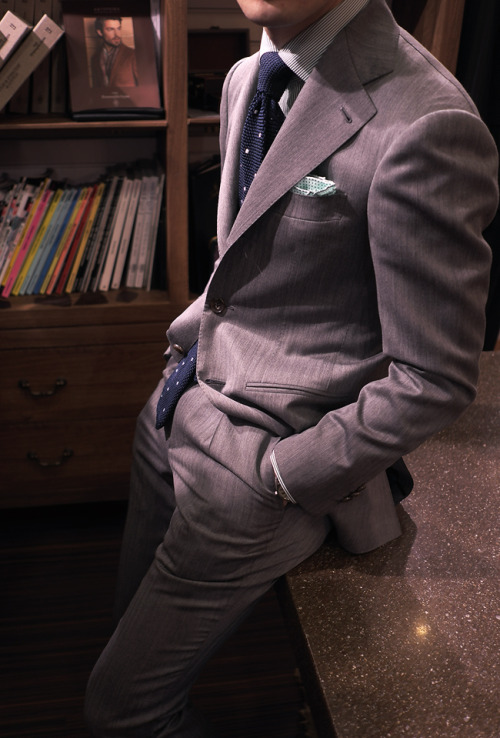 bntailor:  Gray Solaro Suit(Sun Cloth) by B&Tailor. Holland & Sherry Suit Grandi & Rubinelli Shirt Fiorio Knit Tie All at B&Tailorshop.