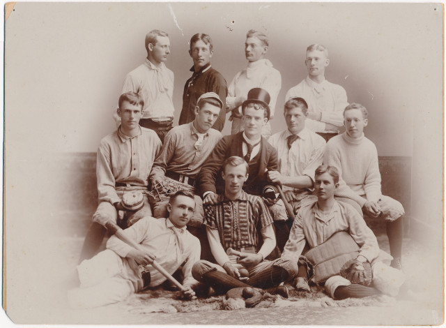 Group portrait of baseball team, Ripon College, 1890-1899. Baseball's opening day is almost here! Time to get out your knee socks and top hats. via: Ripon College Archives