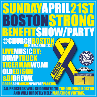 TOMORROW NIGHT. Sunday April 21st we are hosting a benefit show for the Marathon Victims. All proceeds will go to The ONE FUND Boston. PLEASE HELP SPREAD THE WORD!