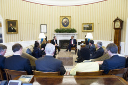 Secretary-General Ban Ki-moon (center left) meets with United States President Barack Obama (center right) at the White House, in the Oval Office.11 April 2013 Washington,D.C, United States of America  UN Photo