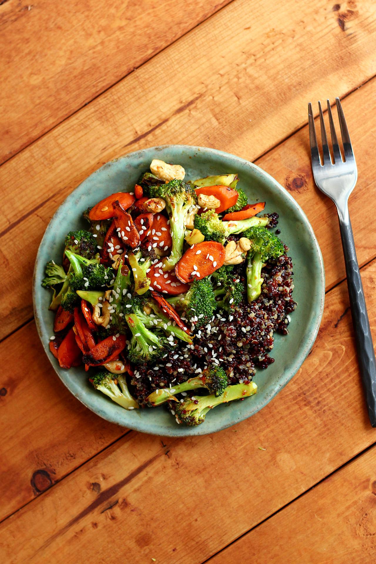 Stir-fried broccoli, carrots, mushrooms (seasoned with sriracha and ...