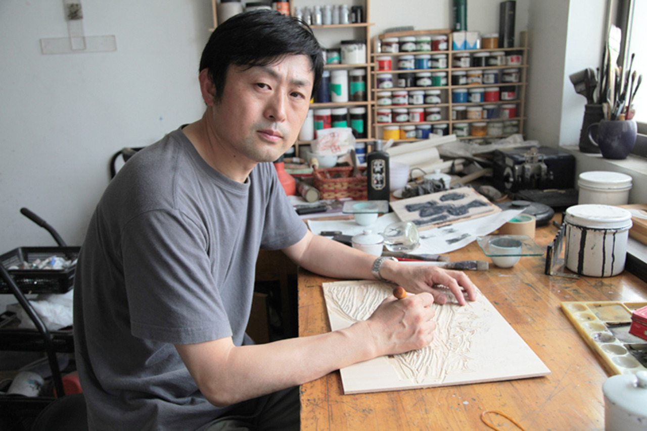 printstamps:  Witt Visiting Artist Fang Limin On March 18 and 20, artist and professor Fang Limin will present a lecture on contemporary Chinese printmaking and conduct a workshop in water-based relief block printmaking at Stamps Print Studios. A member of the Chinese Artists' Association, Fang Limin is one of the foremost artists and educators in the field of contemporary printmaking in China.  Fang's work, noted for its innovative use of traditional printmaking methods, has been exhibited nationally and has represented China in major international print biennials and triennials. Most recently Fang's work was shown in Multiple Impressions: Contemporary Chinese Woodblock Prints, curated by Xiaobing Tang and presented at the University of Michigan Museum of Art in 2011. A short film about Fang Limin's water-based relief printing method was produced by the University of Michigan Museum of Art.