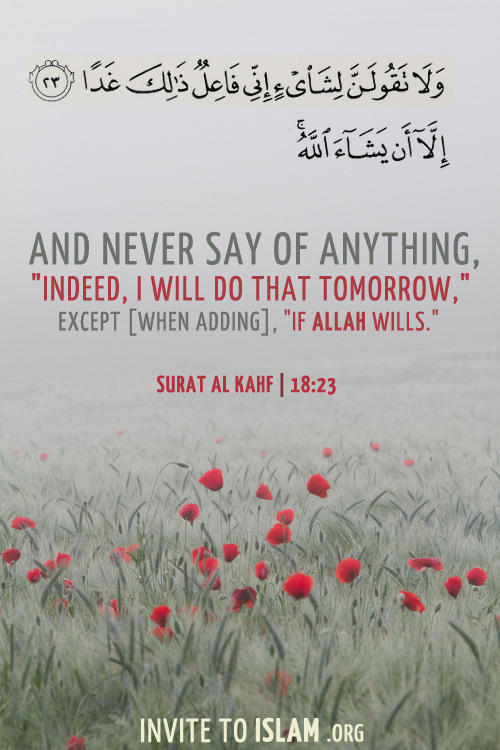 "islamicthinking:   And never say of anything, ""Indeed, I will do that tomorrow,"" except [when adding], ""If Allah wills."" (18:23)"