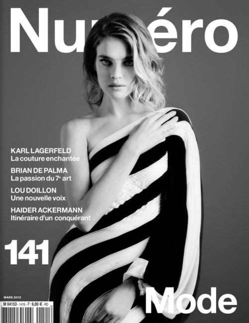 Natalia Vodianova by Karl Lagerfeldt on Numero France March 2013