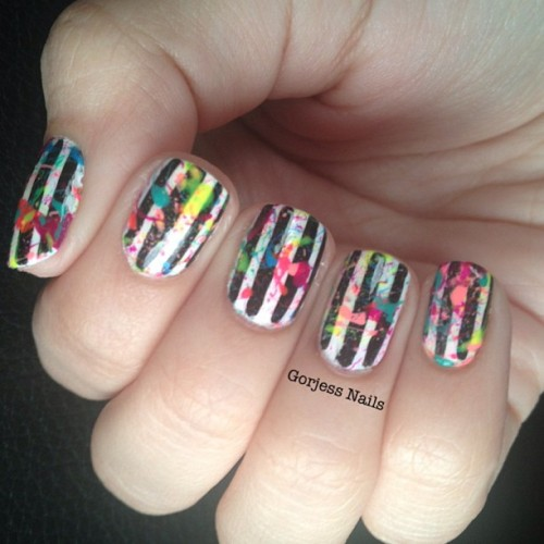 Thoughts? #nailart #stripes #splatter #neon #colorful