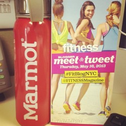 Staying hydrated with my @marmotpro water bottle while writing my #fitblognyc recap. I may have a slight obsession for water bottles! This makes 3 bottles that I have in my office right now. Water is key people! lol