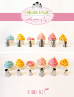 (via {Cupcake Decorating} Basic Icing/Frosting Piping Techniques: How to frost cupcakes with piping tips | niner bakes)